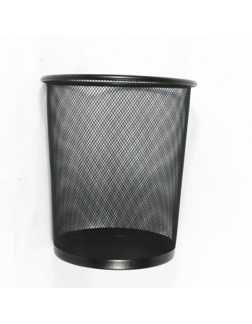 Small rounded mesh trash can